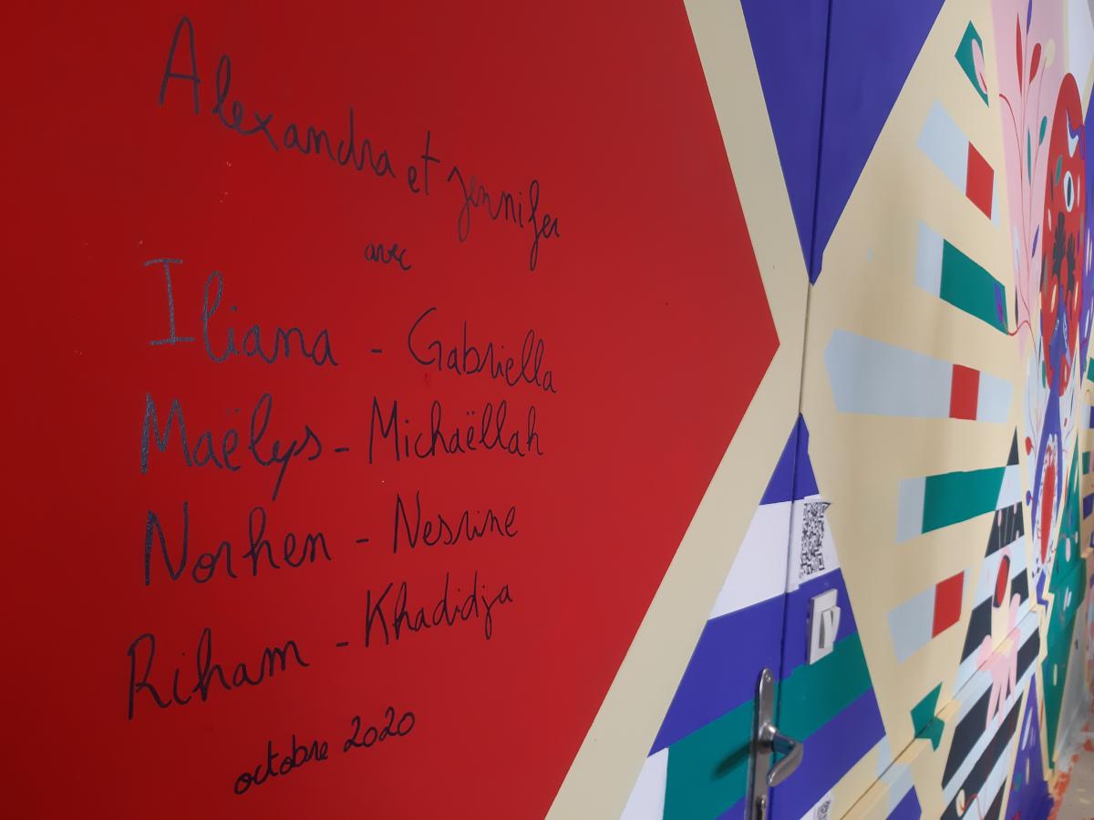 Noms des artistes et des collégiennes ayant participé à la création de la fresque